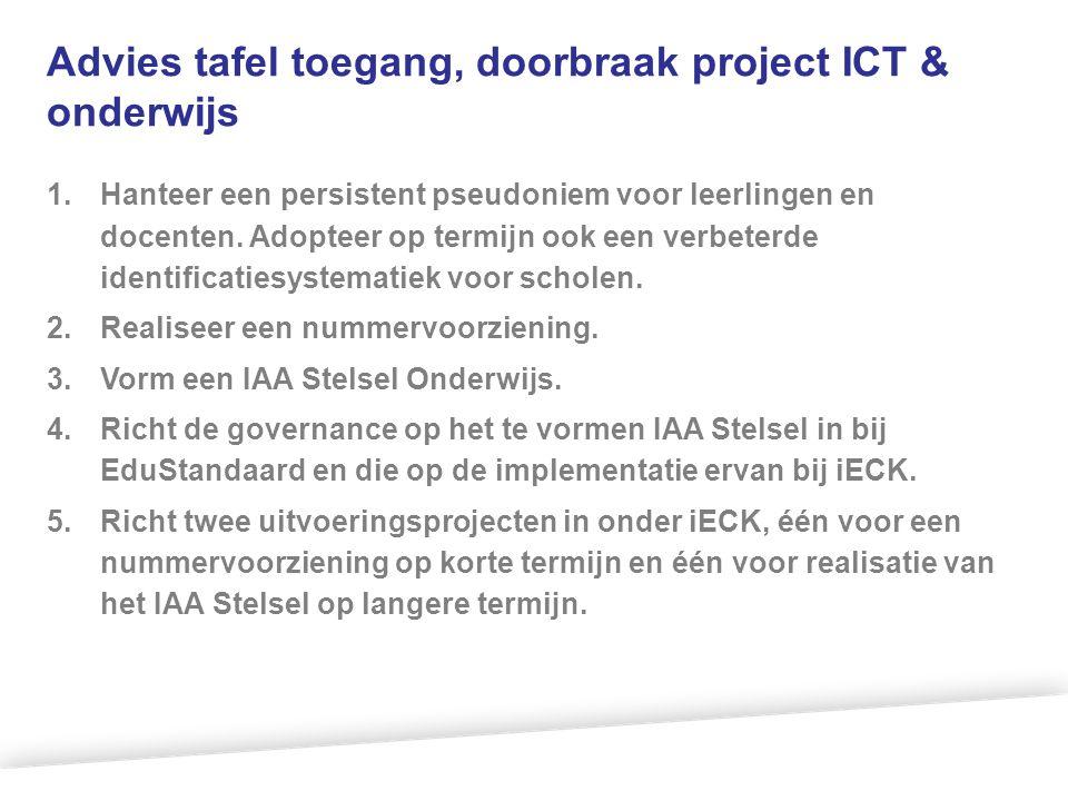Advies tafel toegang, doorbraak project ICT & onderwijs 1.Hanteer een persistent pseudoniem voor leerlingen en docenten. Adopteer op termijn ook een v
