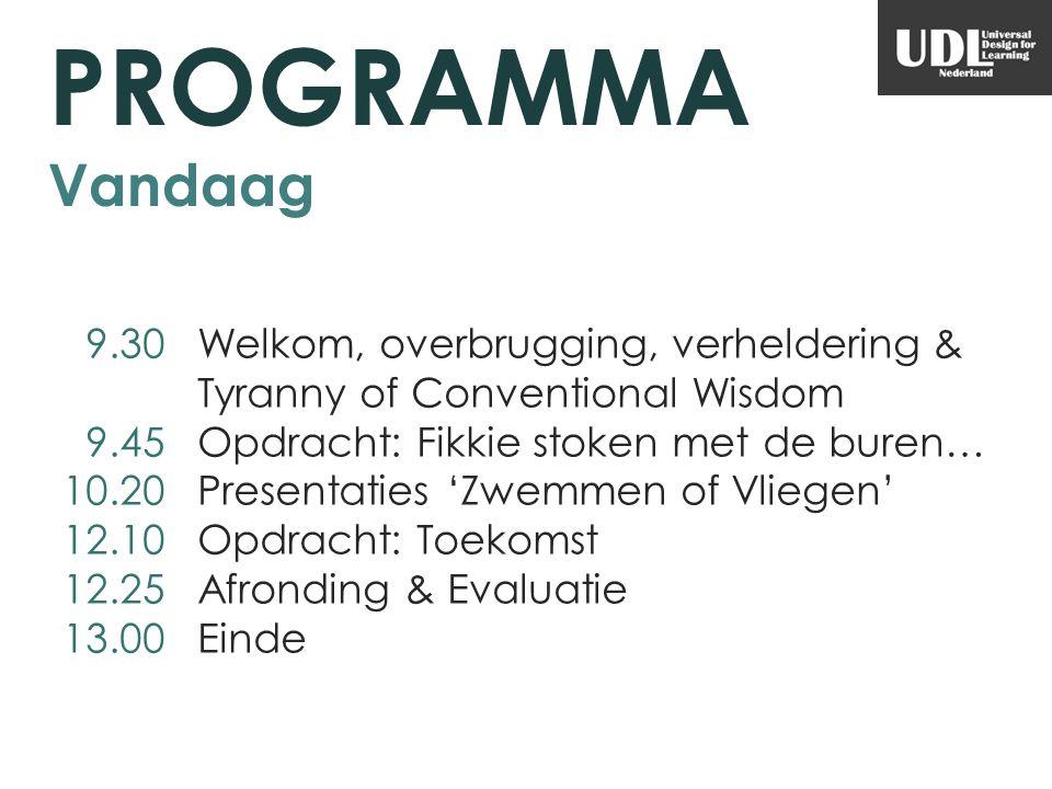 PROGRAMMA Vandaag 9.30 Welkom, overbrugging, verheldering & Tyranny of Conventional Wisdom 9.45 Opdracht: Fikkie stoken met de buren… 10.20 Presentati