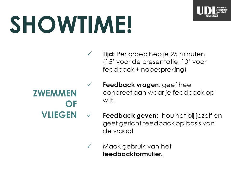 ZWEMMEN OF VLIEGEN Tijd: Per groep heb je 25 minuten (15' voor de presentatie, 10' voor feedback + nabespreking) Feedback vragen : geef heel concreet