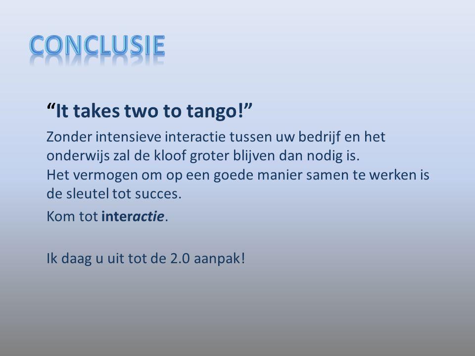 """""""It takes two to tango!"""" Zonder intensieve interactie tussen uw bedrijf en het onderwijs zal de kloof groter blijven dan nodig is. Het vermogen om op"""
