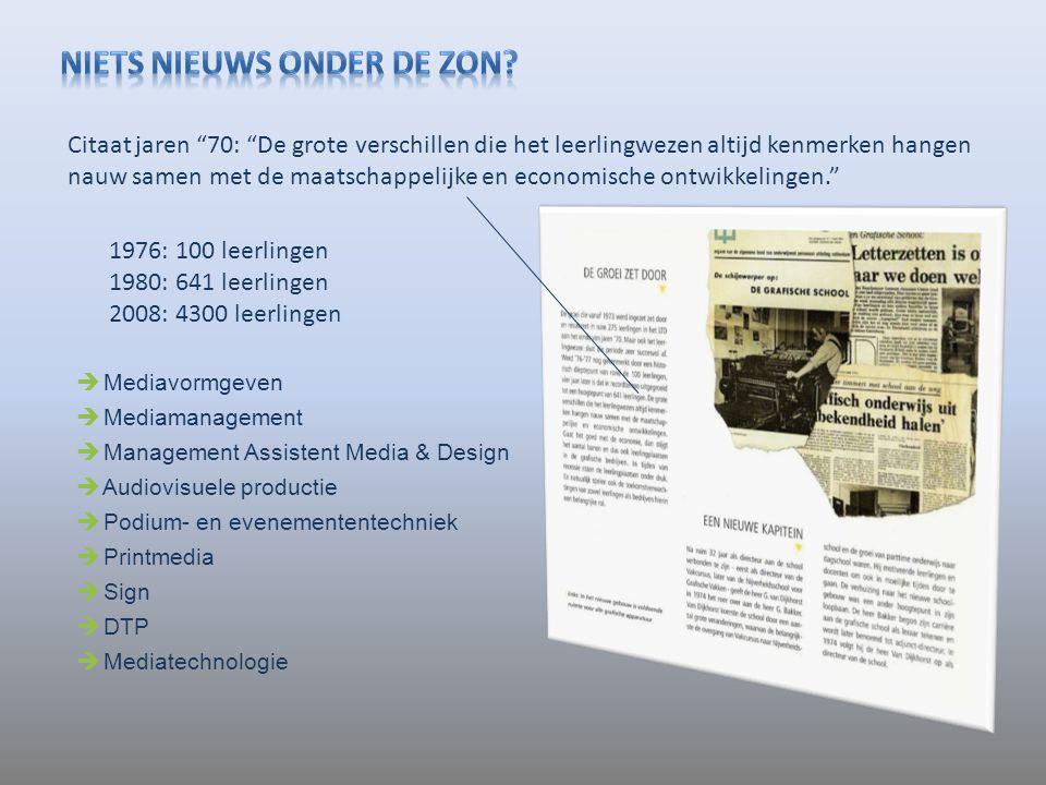 1976: 100 leerlingen 1980: 641 leerlingen 2008: 4300 leerlingen  Mediavormgeven  Mediamanagement  Management Assistent Media & Design  Audiovisuel