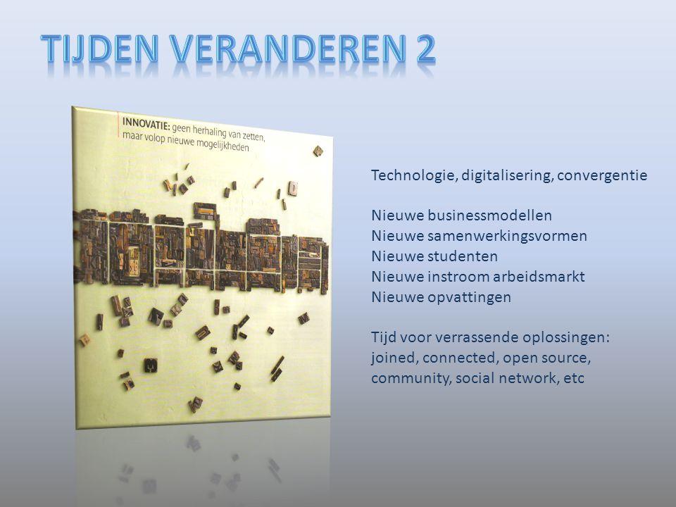 Technologie, digitalisering, convergentie Nieuwe businessmodellen Nieuwe samenwerkingsvormen Nieuwe studenten Nieuwe instroom arbeidsmarkt Nieuwe opva