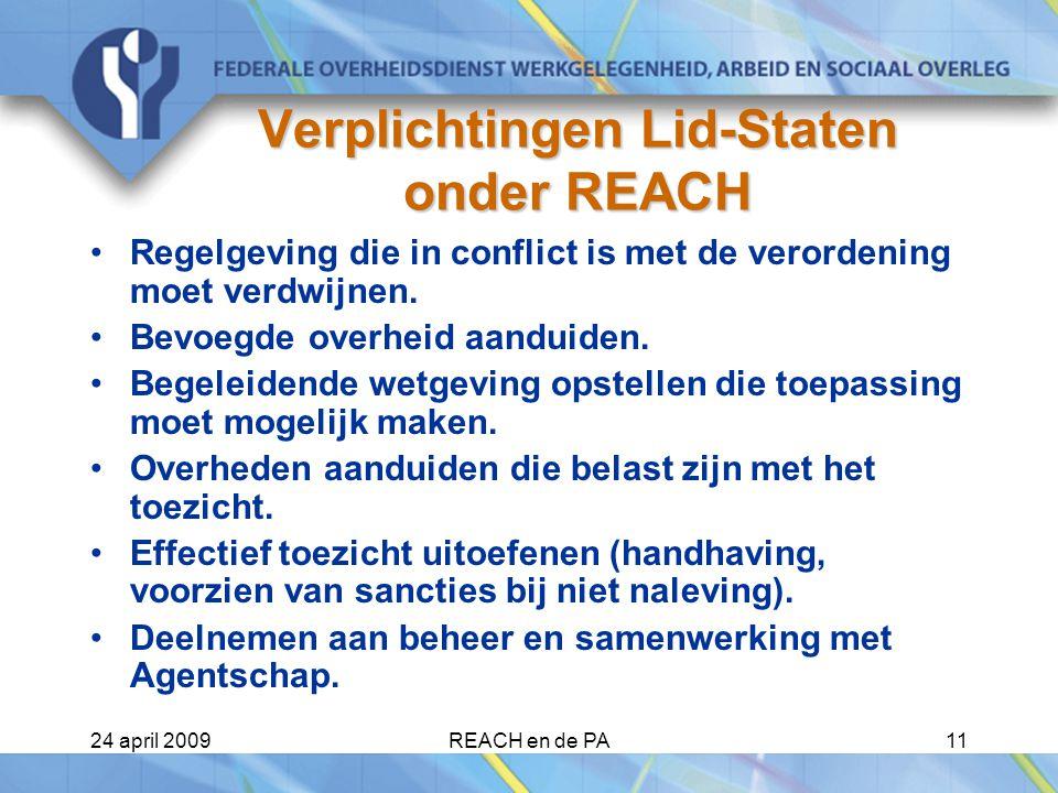 24 april 2009REACH en de PA11 Verplichtingen Lid-Staten onder REACH Regelgeving die in conflict is met de verordening moet verdwijnen.