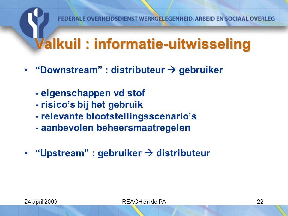 24 april 2009REACH en de PA22 Valkuil : informatie-uitwisseling Downstream : distributeur  gebruiker - eigenschappen vd stof - risico's bij het gebruik - relevante blootstellingsscenario's - aanbevolen beheersmaatregelen Upstream : gebruiker  distributeur