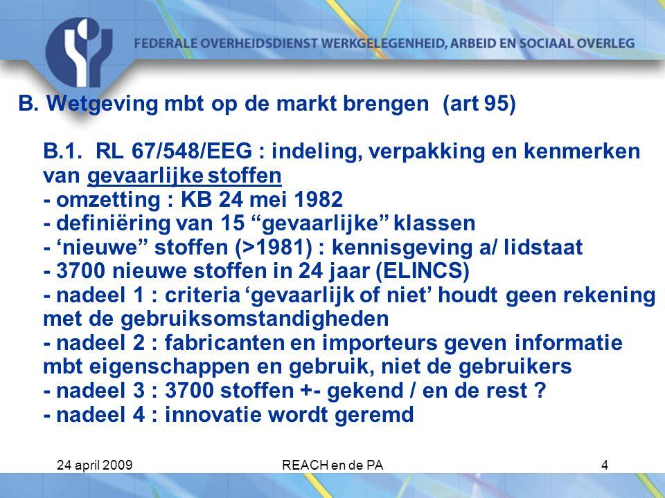 24 april 2009REACH en de PA25 Beperkingen Beperkingen op de productie en het gebruik kunnen opgelegd worden door de Commissie voor iedere stof op zich of in een preparaat.