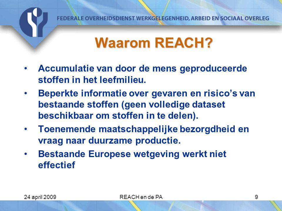24 april 2009REACH en de PA9 Waarom REACH.