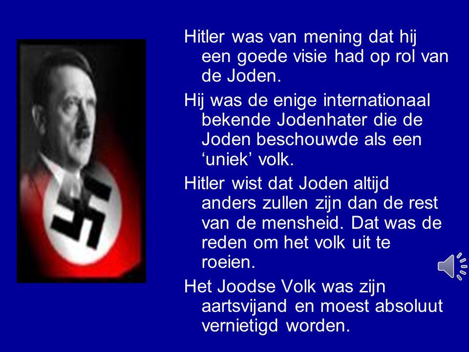 Hitler was van mening dat hij een goede visie had op rol van de Joden. Hij was de enige internationaal bekende Jodenhater die de Joden beschouwde als
