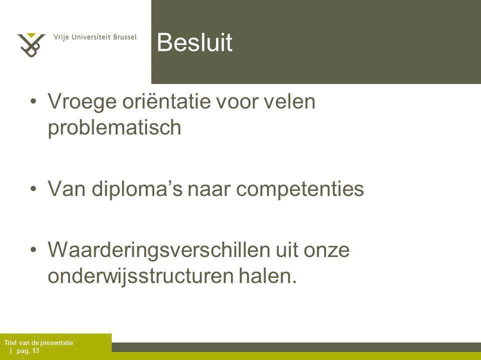 Besluit Vroege oriëntatie voor velen problematisch Van diploma's naar competenties Waarderingsverschillen uit onze onderwijsstructuren halen.