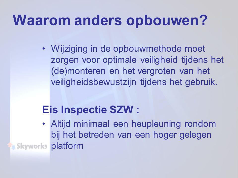 Waarom anders opbouwen? Wijziging in de opbouwmethode moet zorgen voor optimale veiligheid tijdens het (de)monteren en het vergroten van het veilighei