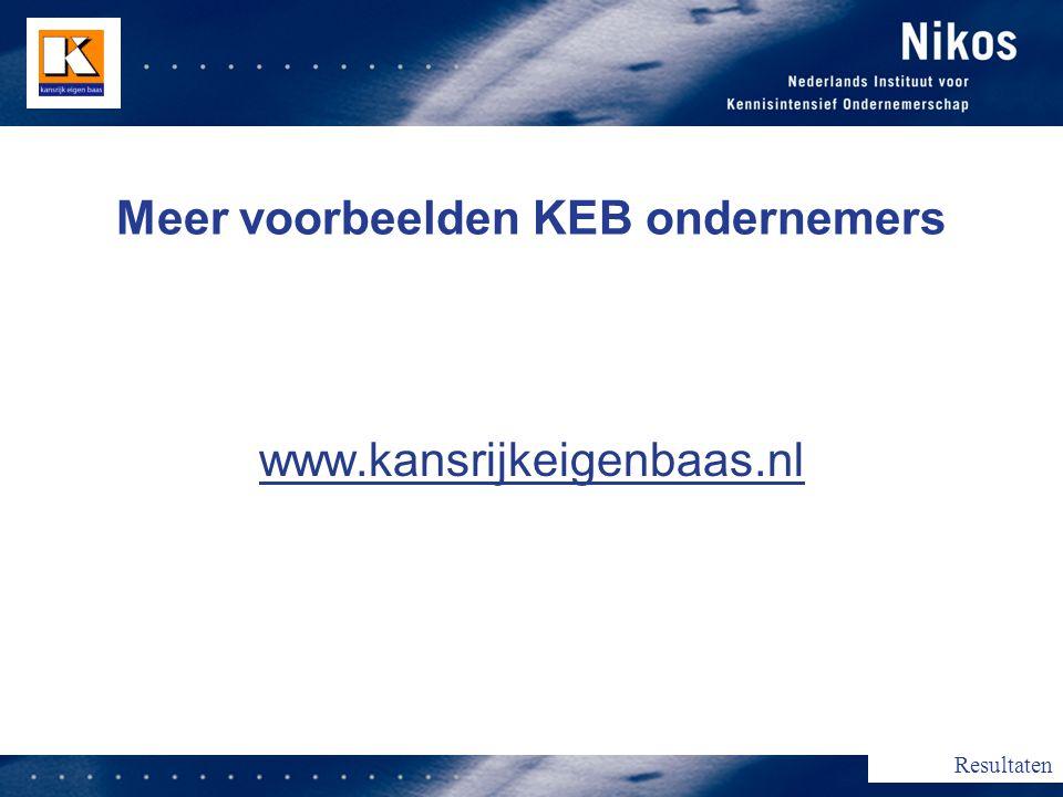 Meer voorbeelden KEB ondernemers www.kansrijkeigenbaas.nl Resultaten