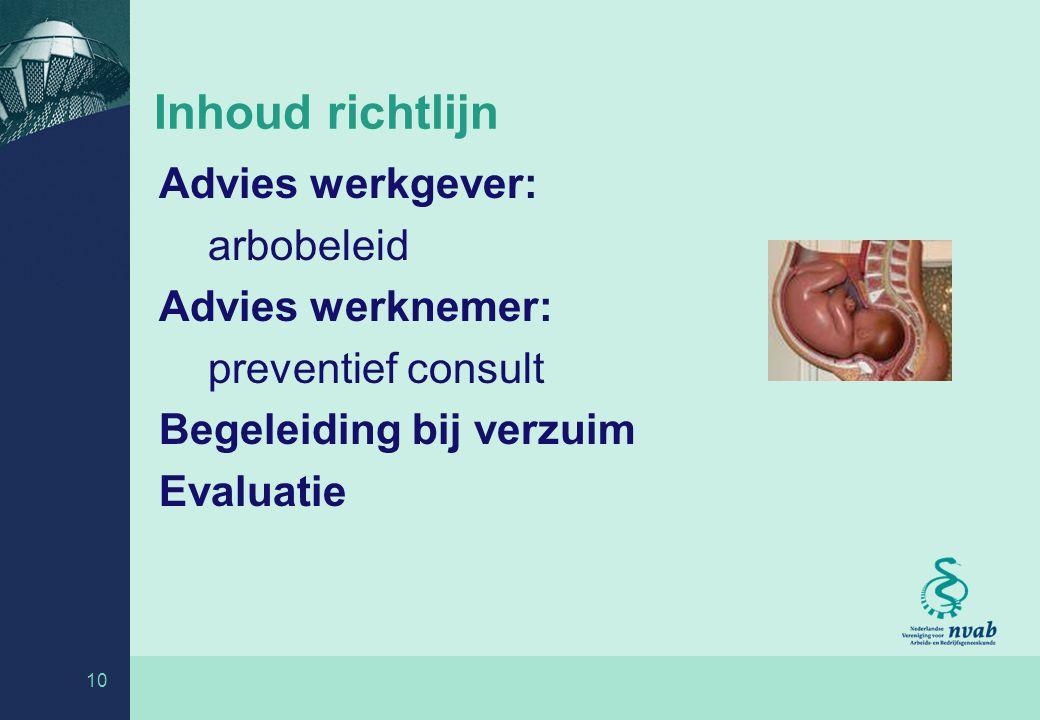 10 Inhoud richtlijn Advies werkgever: arbobeleid Advies werknemer: preventief consult Begeleiding bij verzuim Evaluatie