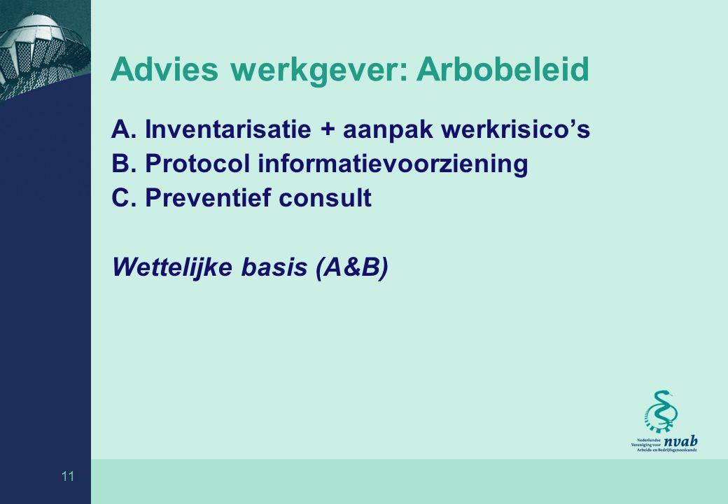 11 Advies werkgever: Arbobeleid A.Inventarisatie + aanpak werkrisico's B.