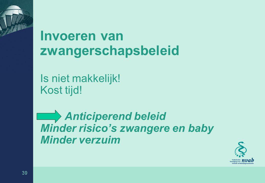 39 Invoeren van zwangerschapsbeleid Is niet makkelijk.