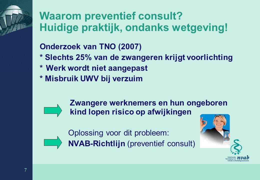 7 Waarom preventief consult.Huidige praktijk, ondanks wetgeving.