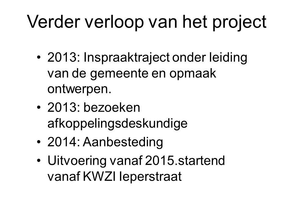 Verder verloop van het project 2013: Inspraaktraject onder leiding van de gemeente en opmaak ontwerpen.