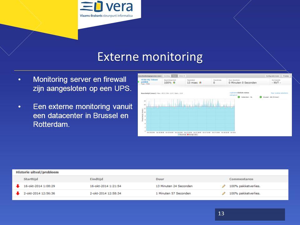 Externe monitoring Monitoring server en firewall zijn aangesloten op een UPS. Een externe monitoring vanuit een datacenter in Brussel en Rotterdam. 13