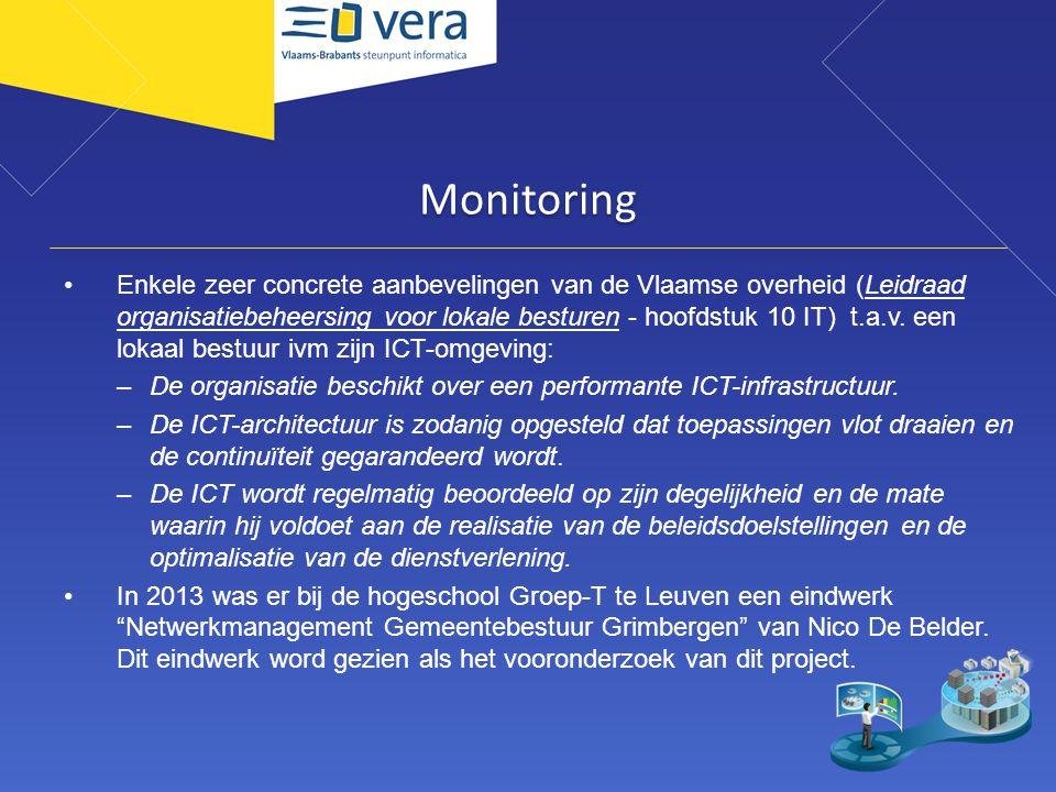 Monitoring Enkele zeer concrete aanbevelingen van de Vlaamse overheid (Leidraad organisatiebeheersing voor lokale besturen - hoofdstuk 10 IT) t.a.v. e