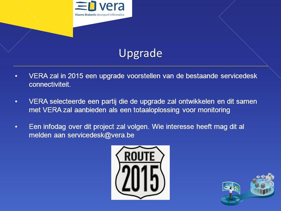 Upgrade VERA zal in 2015 een upgrade voorstellen van de bestaande servicedesk connectiviteit. VERA selecteerde een partij die de upgrade zal ontwikkel