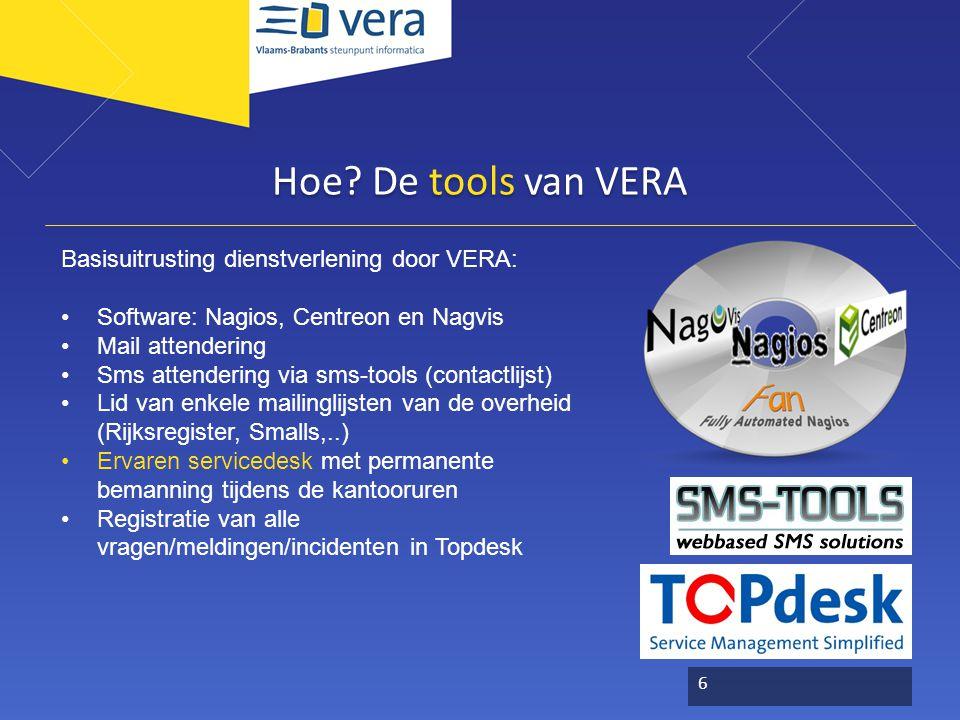 Hoe? De tools van VERA Basisuitrusting dienstverlening door VERA: Software: Nagios, Centreon en Nagvis Mail attendering Sms attendering via sms-tools