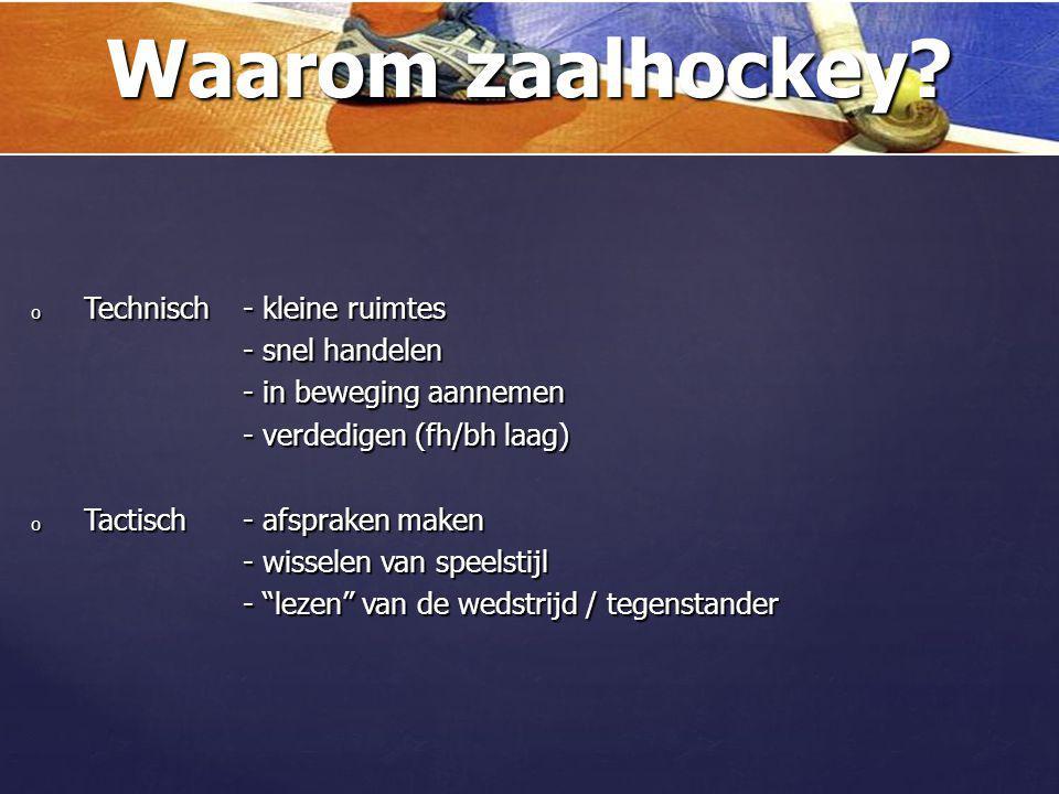 oWaarom spelen we zaalhockey? oTechnische vaardigheden oZaalhockey principes oDobbelsteen 5 in niet-balbezit (2-1-2) oDobbelsteen 5 in balbezit (2-1-2