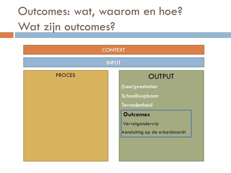 Outcomes: wat, waarom en hoe? Wat zijn outcomes? CONTEXT INPUT PROCES OUTPUT (Leer)prestaties Schoolloopbaan Tevredenheid Outcomes Vervolgonderwijs Aa