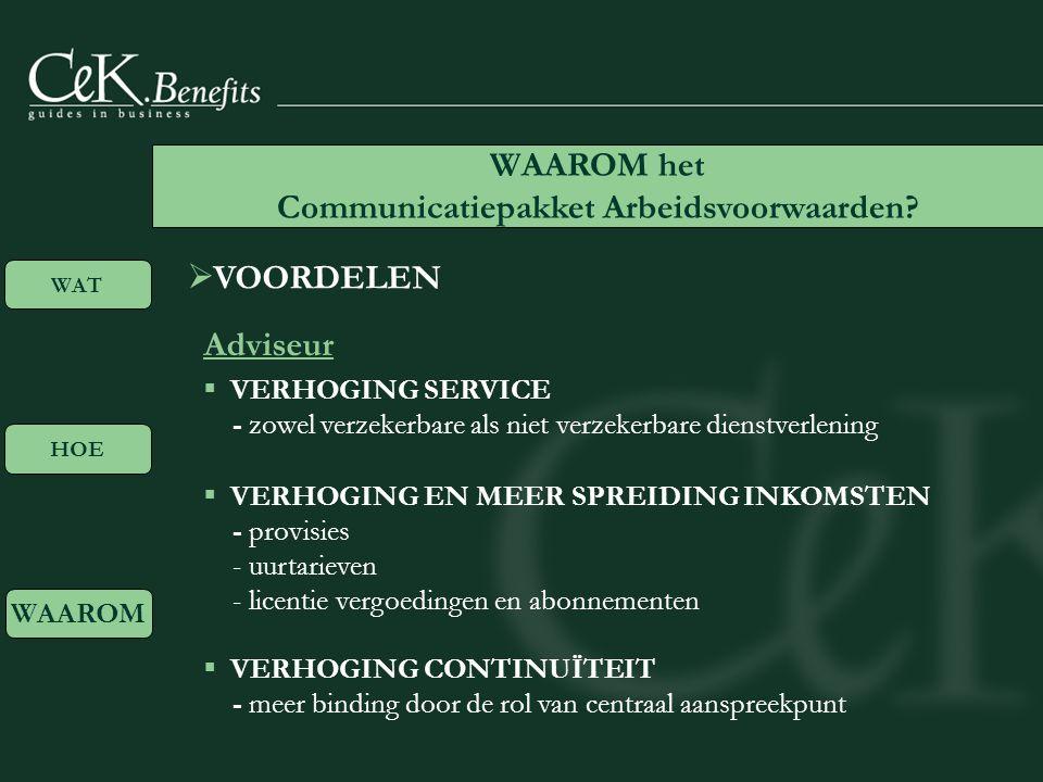  VOORDELEN Adviseur WAAROM het Communicatiepakket Arbeidsvoorwaarden.