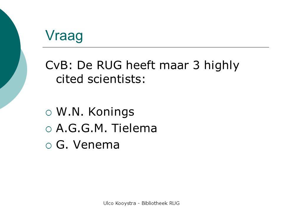 Ulco Kooystra - Bibliotheek RUG Vraag CvB: De RUG heeft maar 3 highly cited scientists:  W.N.