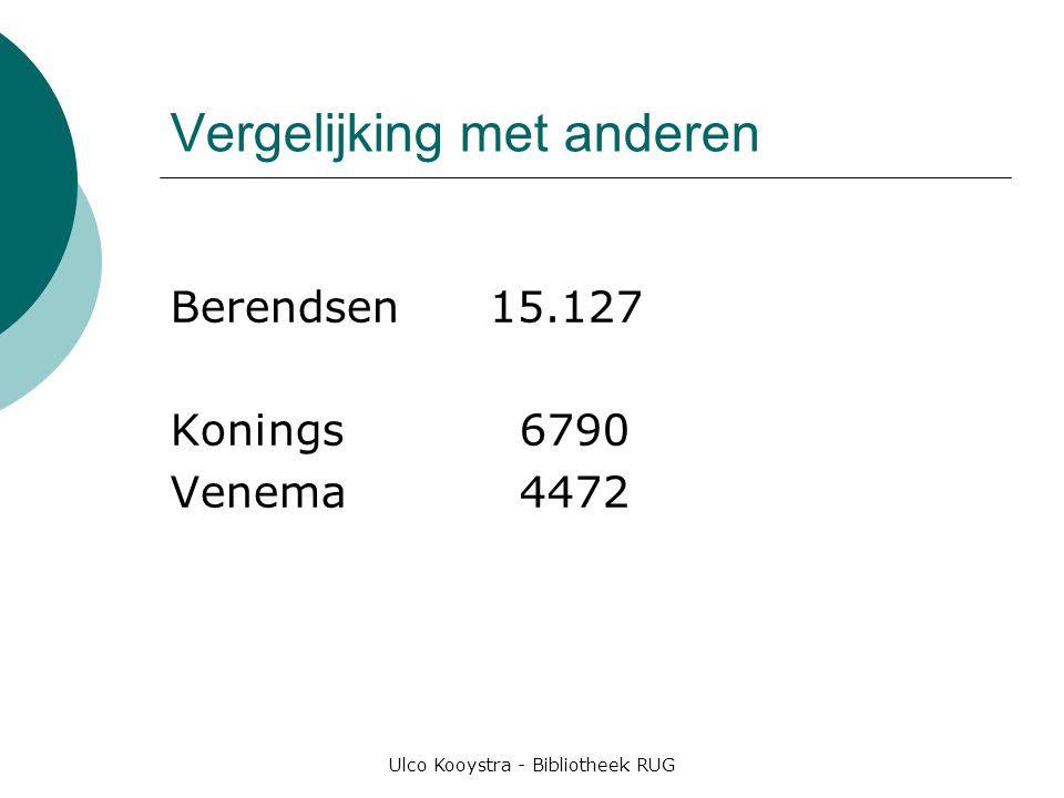 Ulco Kooystra - Bibliotheek RUG Vergelijking met anderen Berendsen15.127 Konings 6790 Venema 4472