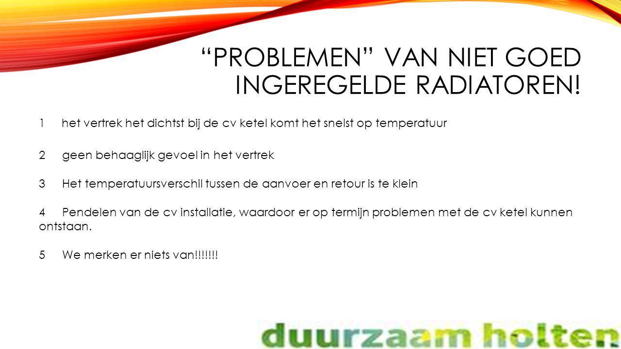 """""""PROBLEMEN"""" VAN NIET GOED INGEREGELDE RADIATOREN! 1 het vertrek het dichtst bij de cv ketel komt het snelst op temperatuur 2geen behaaglijk gevoel in"""
