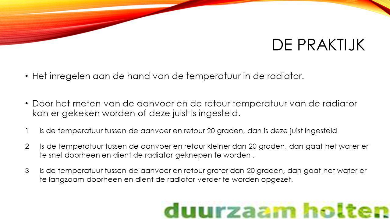 DE PRAKTIJK Het inregelen aan de hand van de temperatuur in de radiator. Door het meten van de aanvoer en de retour temperatuur van de radiator kan er