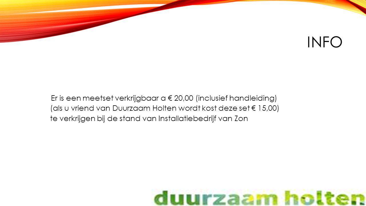INFO Er is een meetset verkrijgbaar a € 20,00 (inclusief handleiding) (als u vriend van Duurzaam Holten wordt kost deze set € 15,00) te verkrijgen bij