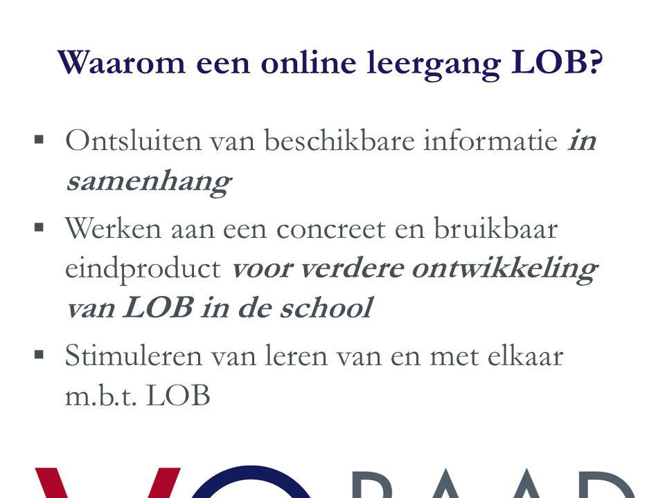 Wat houdt de online leergang LOB in.