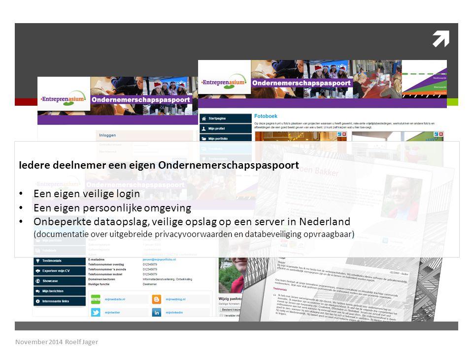  Iedere deelnemer een eigen Ondernemerschapspaspoort Een eigen veilige login Een eigen persoonlijke omgeving Onbeperkte dataopslag, veilige opslag op een server in Nederland (documentatie over uitgebreide privacyvoorwaarden en databeveiliging opvraagbaar)