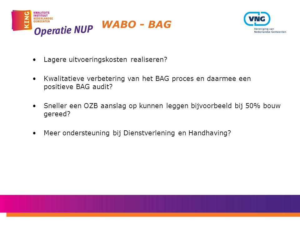 WABO - BAG Lagere uitvoeringskosten realiseren? Kwalitatieve verbetering van het BAG proces en daarmee een positieve BAG audit? Sneller een OZB aansla