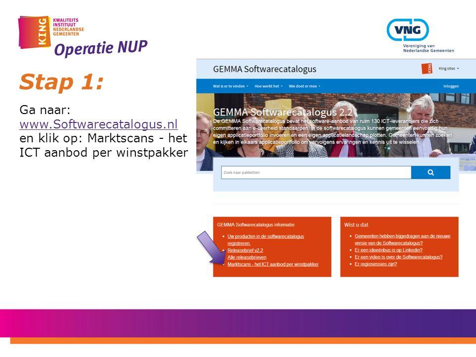 Stap 1: Ga naar: www.Softwarecatalogus.nl en klik op: Marktscans - het ICT aanbod per winstpakker www.Softwarecatalogus.nl