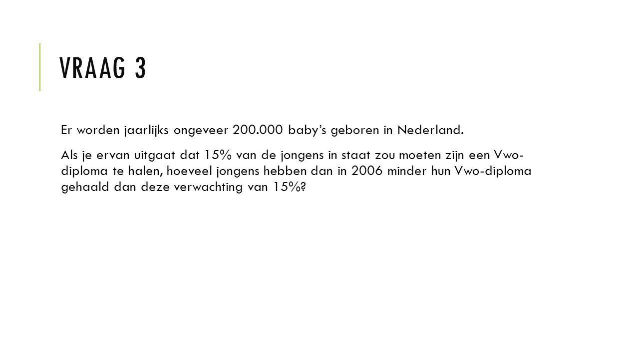 VRAAG 3 Er worden jaarlijks ongeveer 200.000 baby's geboren in Nederland. Als je ervan uitgaat dat 15% van de jongens in staat zou moeten zijn een Vwo
