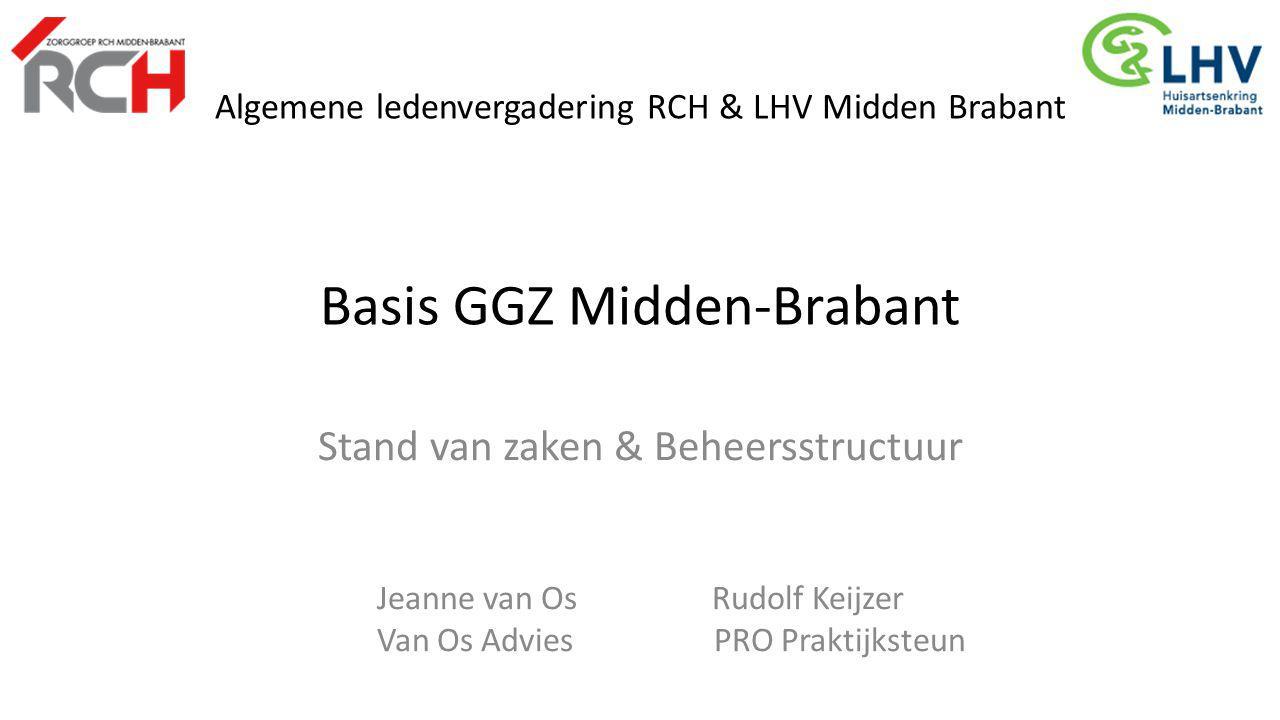 Algemene ledenvergadering RCH & LHV Midden Brabant Basis GGZ Midden-Brabant Stand van zaken & Beheersstructuur Jeanne van Os Rudolf Keijzer Van Os Adv
