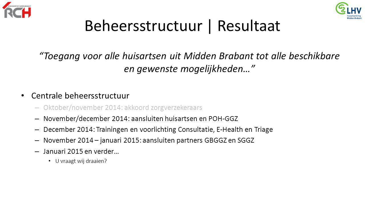 """""""Toegang voor alle huisartsen uit Midden Brabant tot alle beschikbare en gewenste mogelijkheden…"""" Centrale beheersstructuur – Oktober/november 2014: a"""