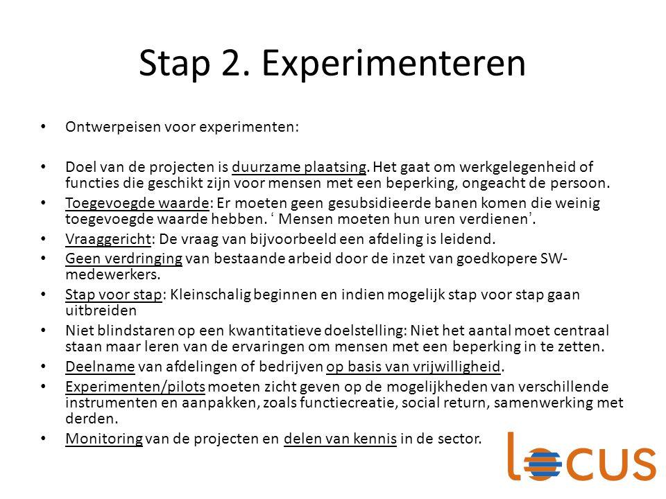 Stap 2. Experimenteren Ontwerpeisen voor experimenten: Doel van de projecten is duurzame plaatsing. Het gaat om werkgelegenheid of functies die geschi