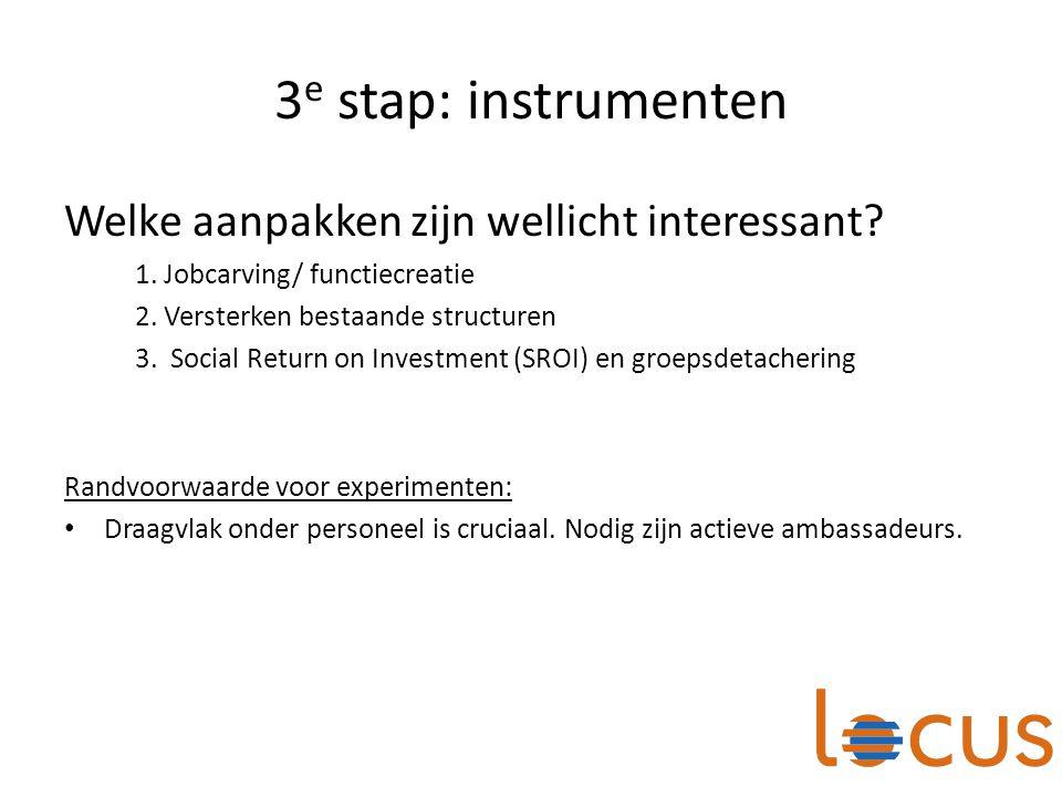 3 e stap: instrumenten Welke aanpakken zijn wellicht interessant? 1. Jobcarving/ functiecreatie 2. Versterken bestaande structuren 3. Social Return on