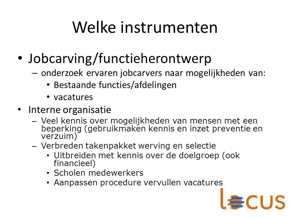 Welke instrumenten Jobcarving/functieherontwerp – onderzoek ervaren jobcarvers naar mogelijkheden van: Bestaande functies/afdelingen vacatures Interne