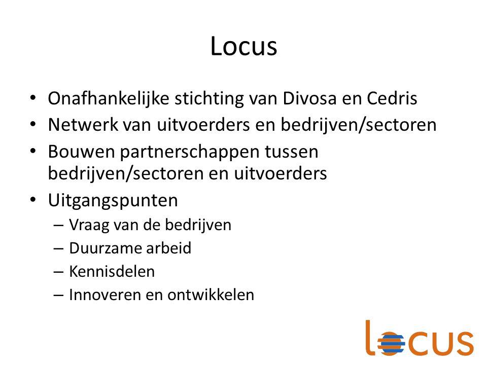 Locus Onafhankelijke stichting van Divosa en Cedris Netwerk van uitvoerders en bedrijven/sectoren Bouwen partnerschappen tussen bedrijven/sectoren en