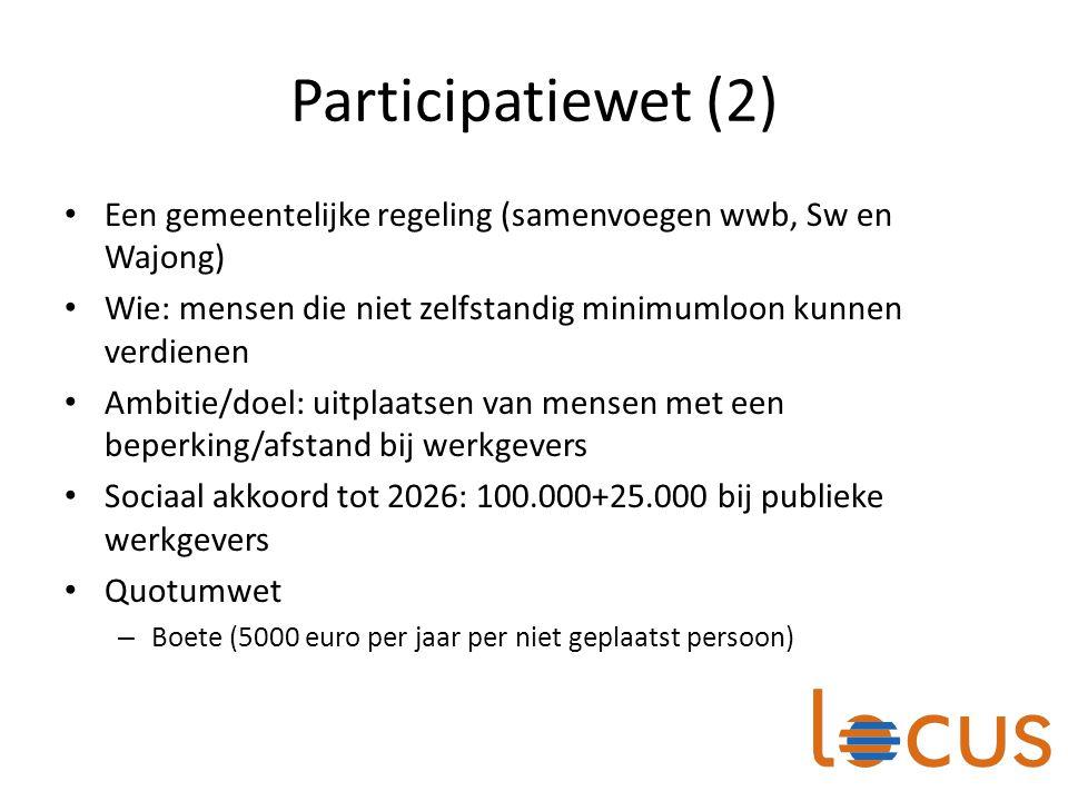 Participatiewet (2) Een gemeentelijke regeling (samenvoegen wwb, Sw en Wajong) Wie: mensen die niet zelfstandig minimumloon kunnen verdienen Ambitie/d