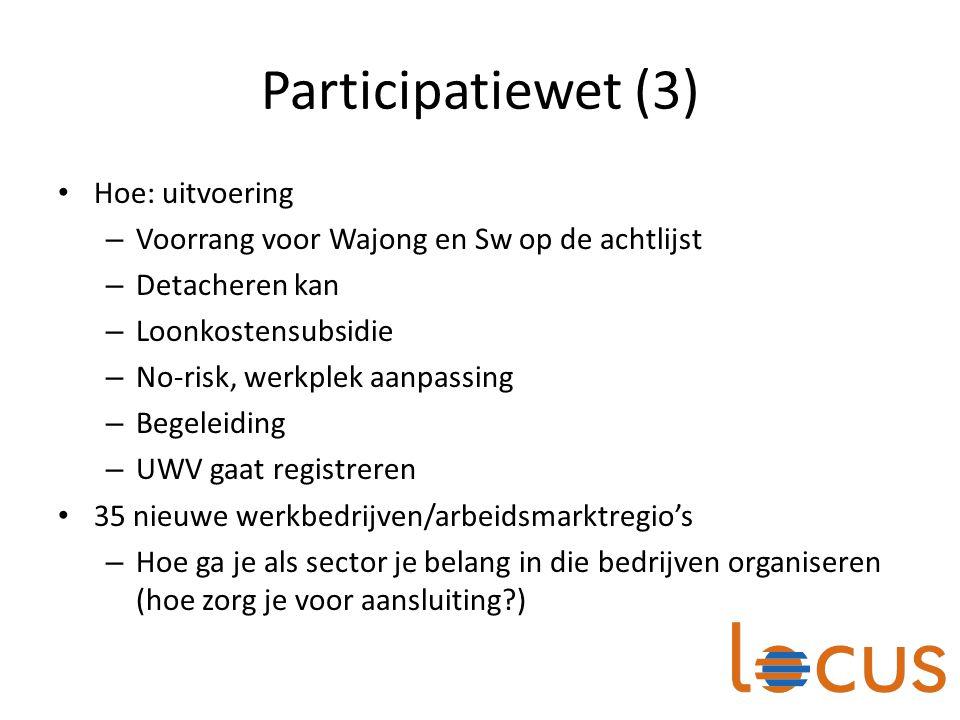 Participatiewet (3) Hoe: uitvoering – Voorrang voor Wajong en Sw op de achtlijst – Detacheren kan – Loonkostensubsidie – No-risk, werkplek aanpassing