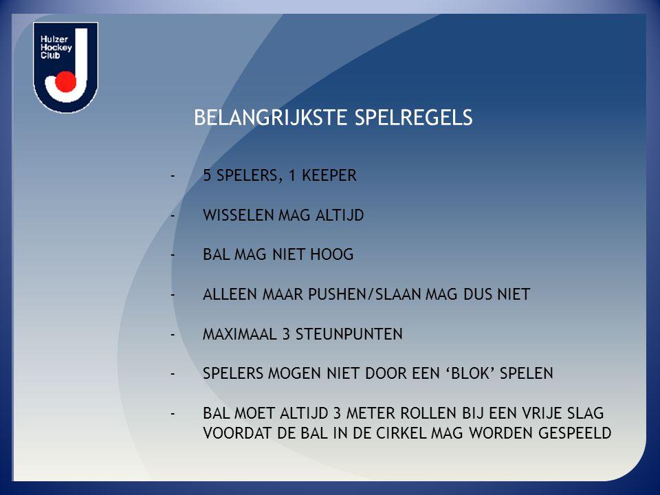 BELANGRIJKSTE SPELREGELS - 5 SPELERS, 1 KEEPER - WISSELEN MAG ALTIJD - BAL MAG NIET HOOG - ALLEEN MAAR PUSHEN/SLAAN MAG DUS NIET - MAXIMAAL 3 STEUNPUN