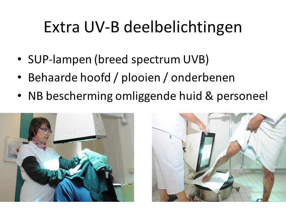 Extra UV-B deelbelichtingen SUP-lampen (breed spectrum UVB) Behaarde hoofd / plooien / onderbenen NB bescherming omliggende huid & personeel