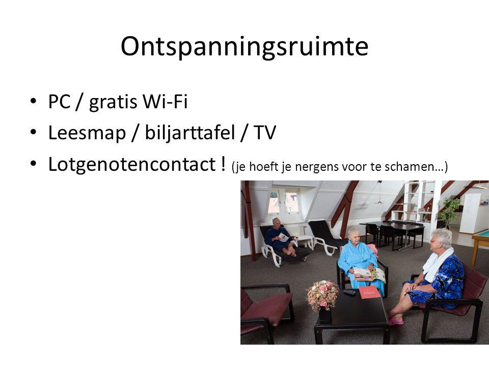Ontspanningsruimte PC / gratis Wi-Fi Leesmap / biljarttafel / TV Lotgenotencontact ! (je hoeft je nergens voor te schamen…)
