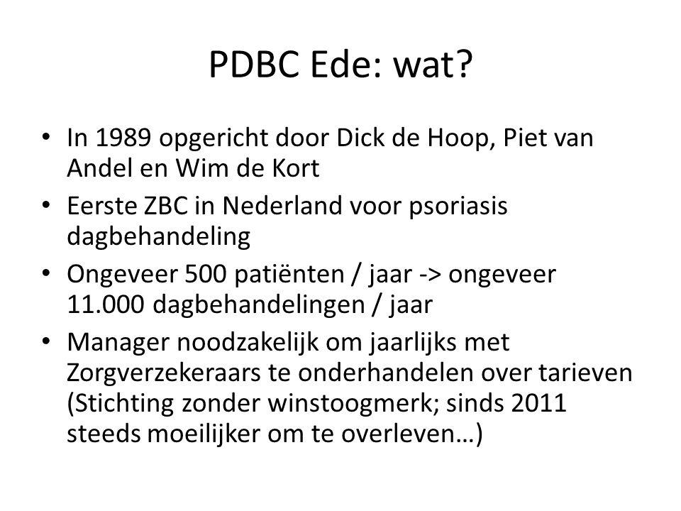 PDBC Ede: wat? In 1989 opgericht door Dick de Hoop, Piet van Andel en Wim de Kort Eerste ZBC in Nederland voor psoriasis dagbehandeling Ongeveer 500 p