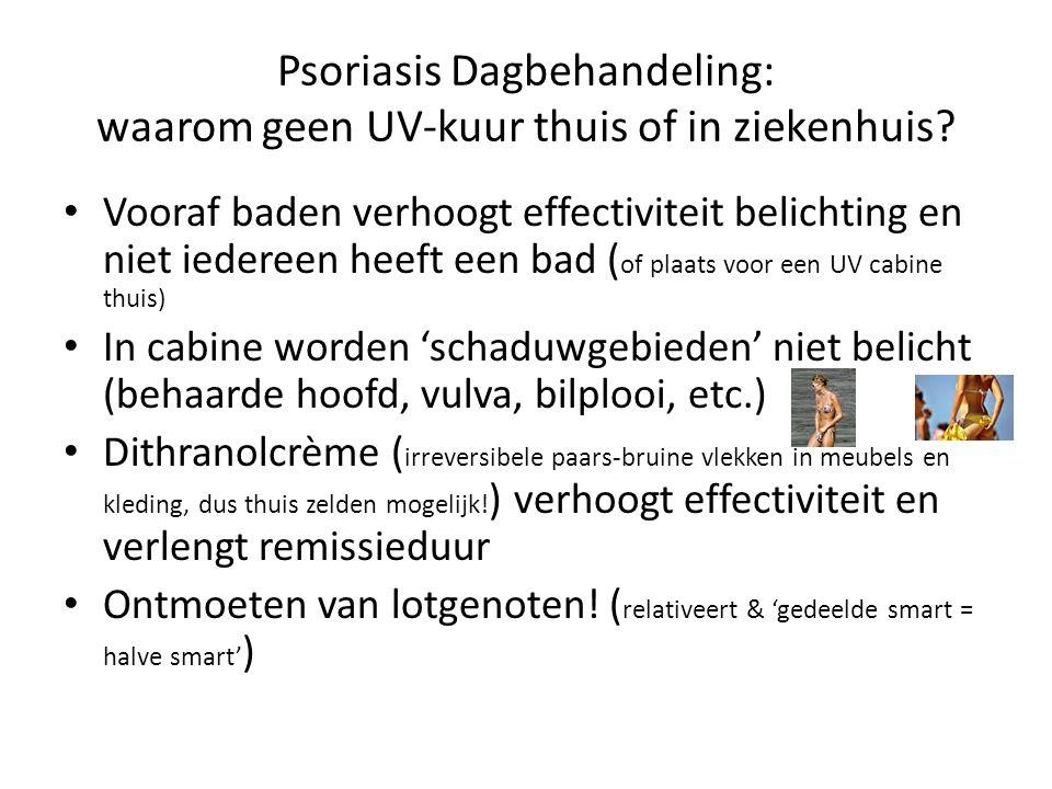 Psoriasis Dagbehandeling: waarom geen UV-kuur thuis of in ziekenhuis? Vooraf baden verhoogt effectiviteit belichting en niet iedereen heeft een bad (