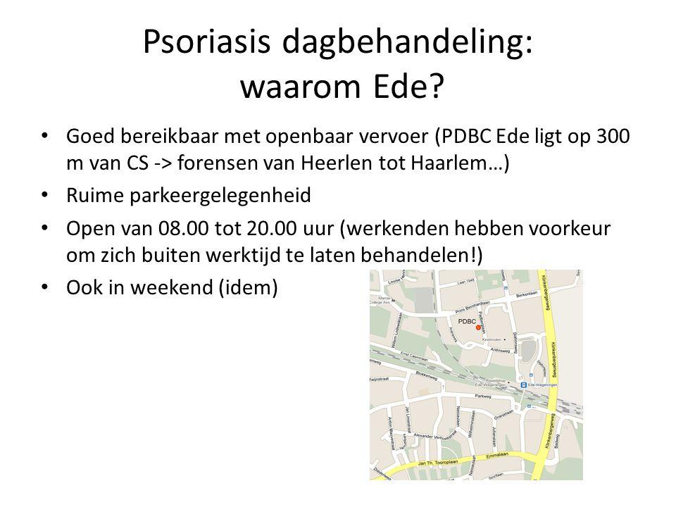 Psoriasis dagbehandeling: waarom Ede? Goed bereikbaar met openbaar vervoer (PDBC Ede ligt op 300 m van CS -> forensen van Heerlen tot Haarlem…) Ruime